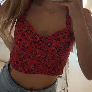 red cropped tank top